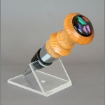 Yew and chrome stopper with dichroic glass cabochon