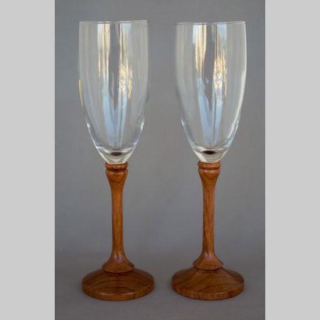 Glass goblets with Bubinga stems